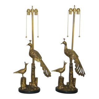 Marbro Brass Peacock Table Lamps For Sale