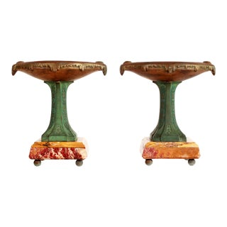 French Art Deco Bronze & Marble Pedestals / Bowls - a Pair For Sale