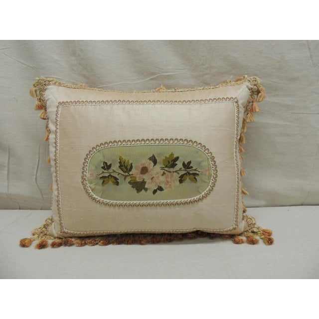 Antique Aubusson Center Tapestry Decorative Pillow For Sale - Image 4 of 9