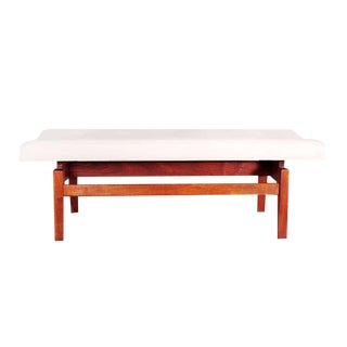 1950s Mid-Century Modern Jens Risom Floating Bench in Leather For Sale