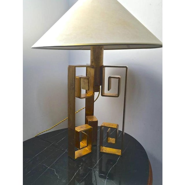 """Mid-Century Modern Jean Royère Rarest Documented Gold Leaf Wrought Iron Table Lampe Model """"Pekin"""" For Sale - Image 3 of 4"""