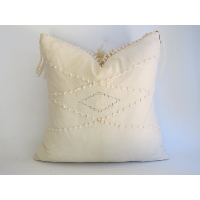 White Southwestern Blanket Fringe Pillows - A Pair - Image 6 of 7