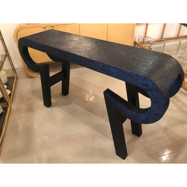Black Lacquered Grasscloth Scroll Ming Console Table For Sale - Image 10 of 14