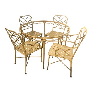 Faux Bamboo Brown Jordan Calcutta Dining Patio Set For Sale
