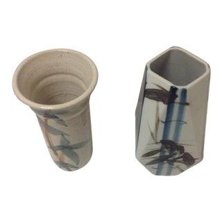 Vintage Blue & Brown Bamboo Design Ceramic Vases - a Pair