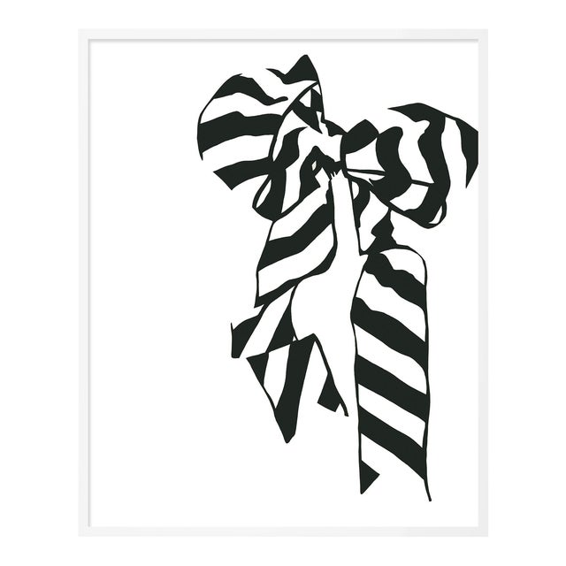 White Bow by Angela Blehm in White Framed Paper, Small Art Print For Sale