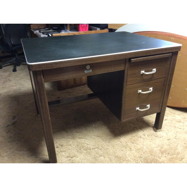 Americana 1930 Vintage Metal Desk For Sale - Image 3 of 6