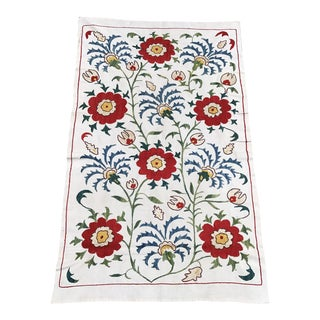 16th Century Design Floral Tablecloth Handmade Suzani Fabric For Sale