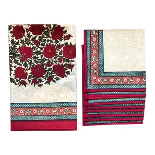 "Brigitte Singh ""Pavot"" Hand Block Printed Tablecloth and Napkins - Set of 9 For Sale"