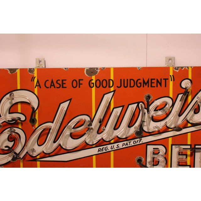 Mid-Century Modern 1930s Vintage Porcelain Edelweiss Beer Sign For Sale - Image 3 of 4