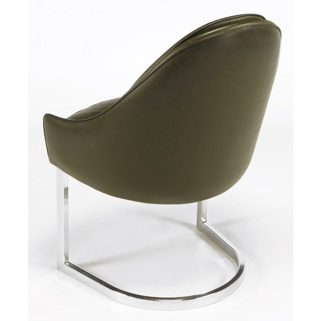 1960s Four Cantilevered Chrome and Chocolate Brown Spoonback Dining Chairs For Sale - Image 5 of 7