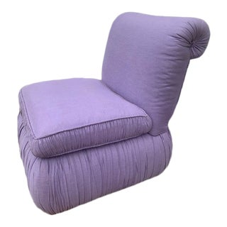 1980s Vintage Lavender Pleated Slipper Chair For Sale