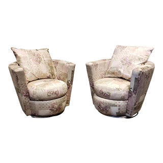 Pair of Thayer Coggin Swivel Tub Chairs For Sale