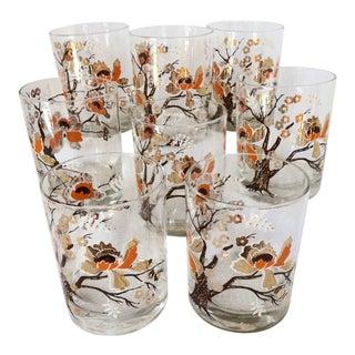 Mid-Century Modern Culver Lotus Flower Cocktail Glasses - Set of 8 For Sale