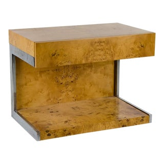 1990s Modern Burl Walnut Nightstand Side Table For Sale