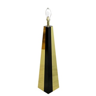 1980s Vintage Contemporary Modern Brass & Black Lacquer Triangle Floor Lamp For Sale