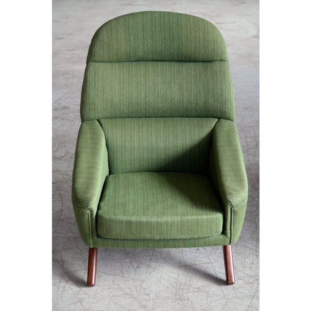 Green Danish Illum Wikkelso Style High and Low Lounge Chairs by Leif Hansen - a Pair For Sale - Image 8 of 13