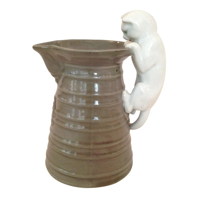 Cream Pitcher with Cat Handle - Image 1 of 6