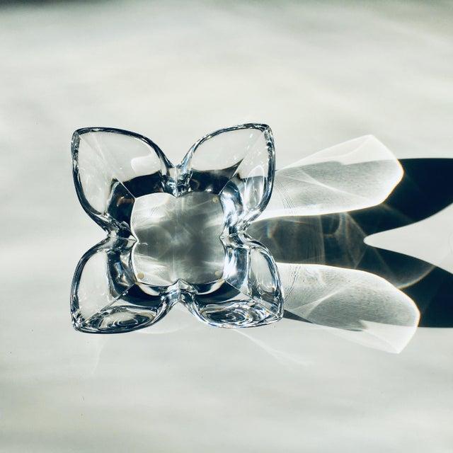 Orrefors Lars Hellsten Crystal Lotus Bowl by Orrefors Scandinavian Modern Art Glass For Sale - Image 4 of 6