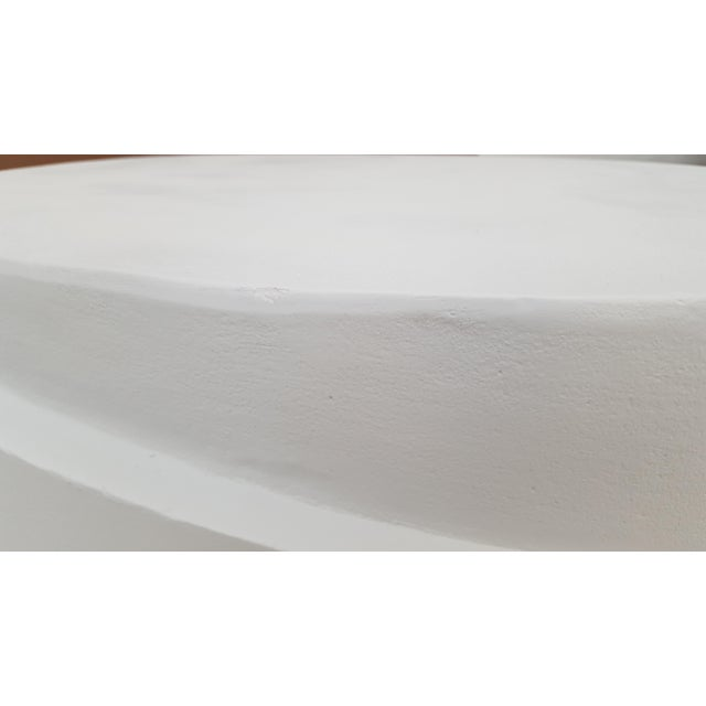 White Sculptural Plaster Round Coffee Table For Sale - Image 8 of 11