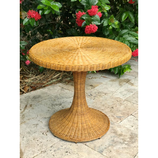 Vintage Wicker Rattan Dining Table For Sale - Image 13 of 13