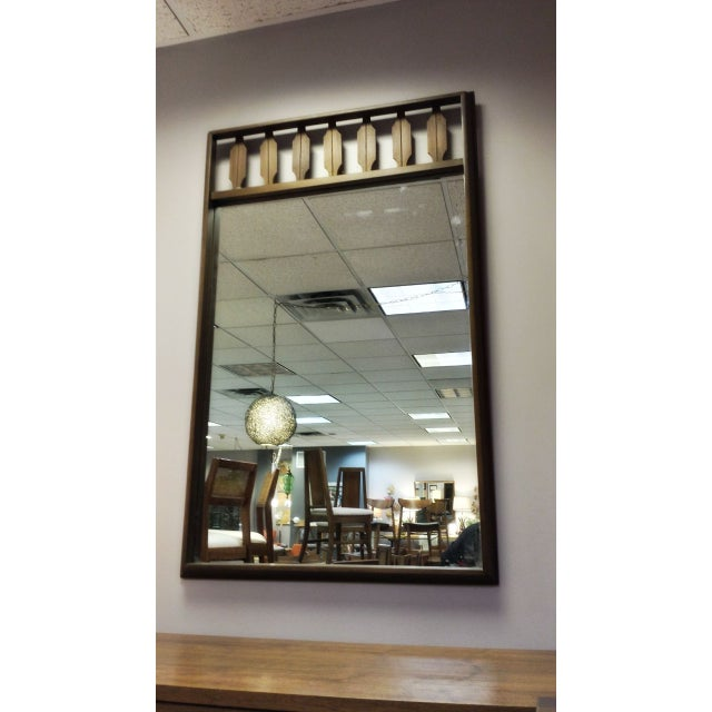 Decorative Mid-Century Walnut Frame Mirror - Image 6 of 6