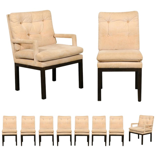 Sophisticated Set of 10 Brass Parsons Dining Chairs by John Stuart, Circa 1968 For Sale