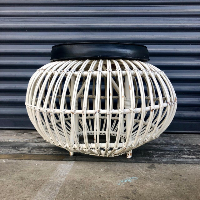 Vintage Albini Style Pencil Reed Rattan Ottoman For Sale - Image 10 of 13