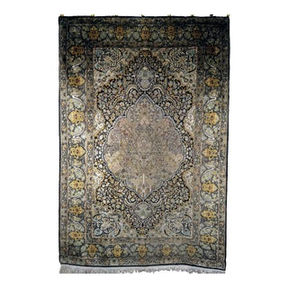 1960s Vintage Silk Area Rug With Tree of Life Design - 4′2″ × 6′5″ For Sale