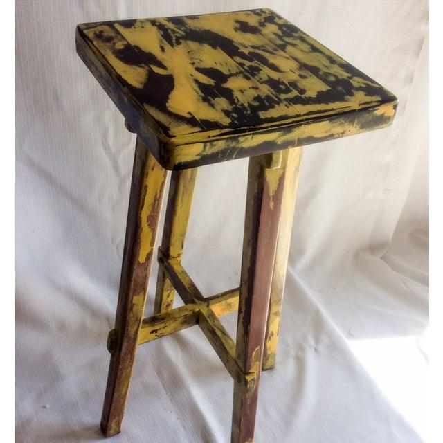 Yellow Distressed Cedro Macho Wood Bar Stool - Image 2 of 8