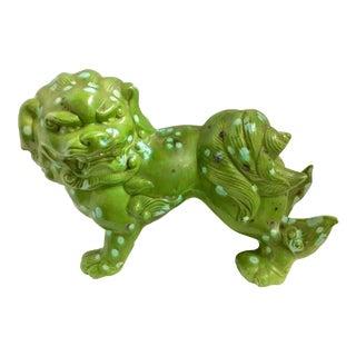 Vintage Ceramic Green & Turquoise Foo Dog