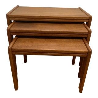 1970s Mid-Century Teak Nesting Tables - 3 Pieces For Sale