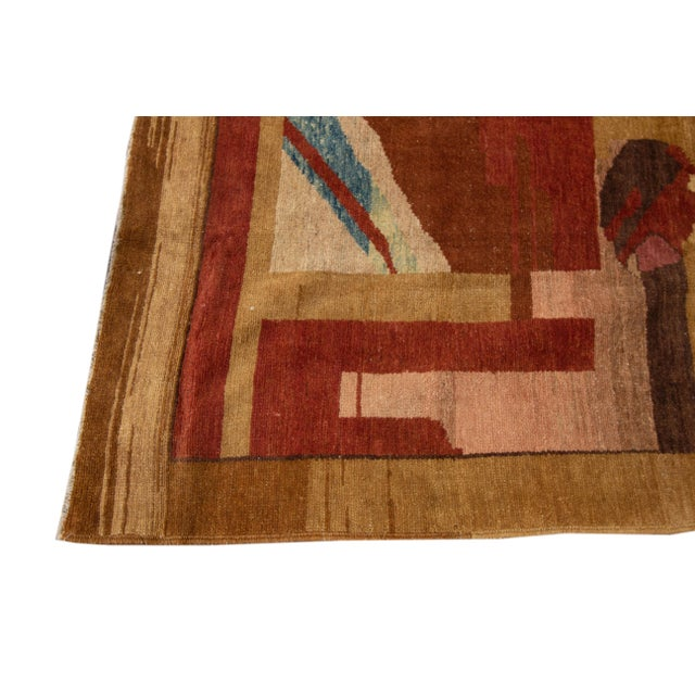 Textile Vintage Art Deco Style Square Wool Rug For Sale - Image 7 of 13