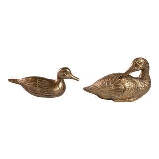 Vintage Brass Duck Sculptures - Set of 2 For Sale