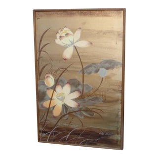 Vintage Lee Reynolds Original Gold Lotus Flower Oil Painting For Sale