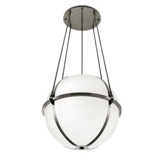 Suspended Steel Grey Pendant Globe Light For Sale