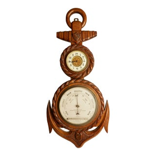 Late 19th Century Victorian Anchor Mahogany Barometer For Sale