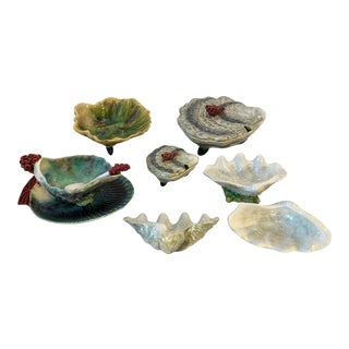 Antique Collection of Sea Shell Majolica, Set of 7 For Sale