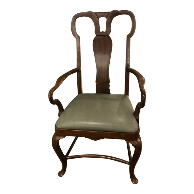 Baker Green Leather Seat Arm Chair For Sale