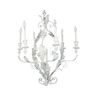 Italian Metal Flower Leaf Chandelier For Sale