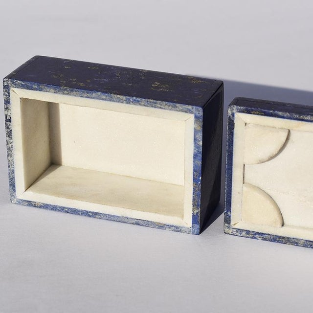 Beautiful blue Lapis Lazuli and Carrara marble stone jewelry box. Created from genuine blue Lapis Lazuli, this box is low...