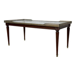Rectangular Bouillotte Louis XVI Style Table Gueridon With Bronze Legs For Sale