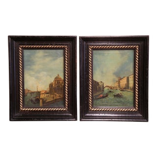 Pair 19th Century Framed Oil on Canvas Venetian Scene Painting Signed Zanetti For Sale