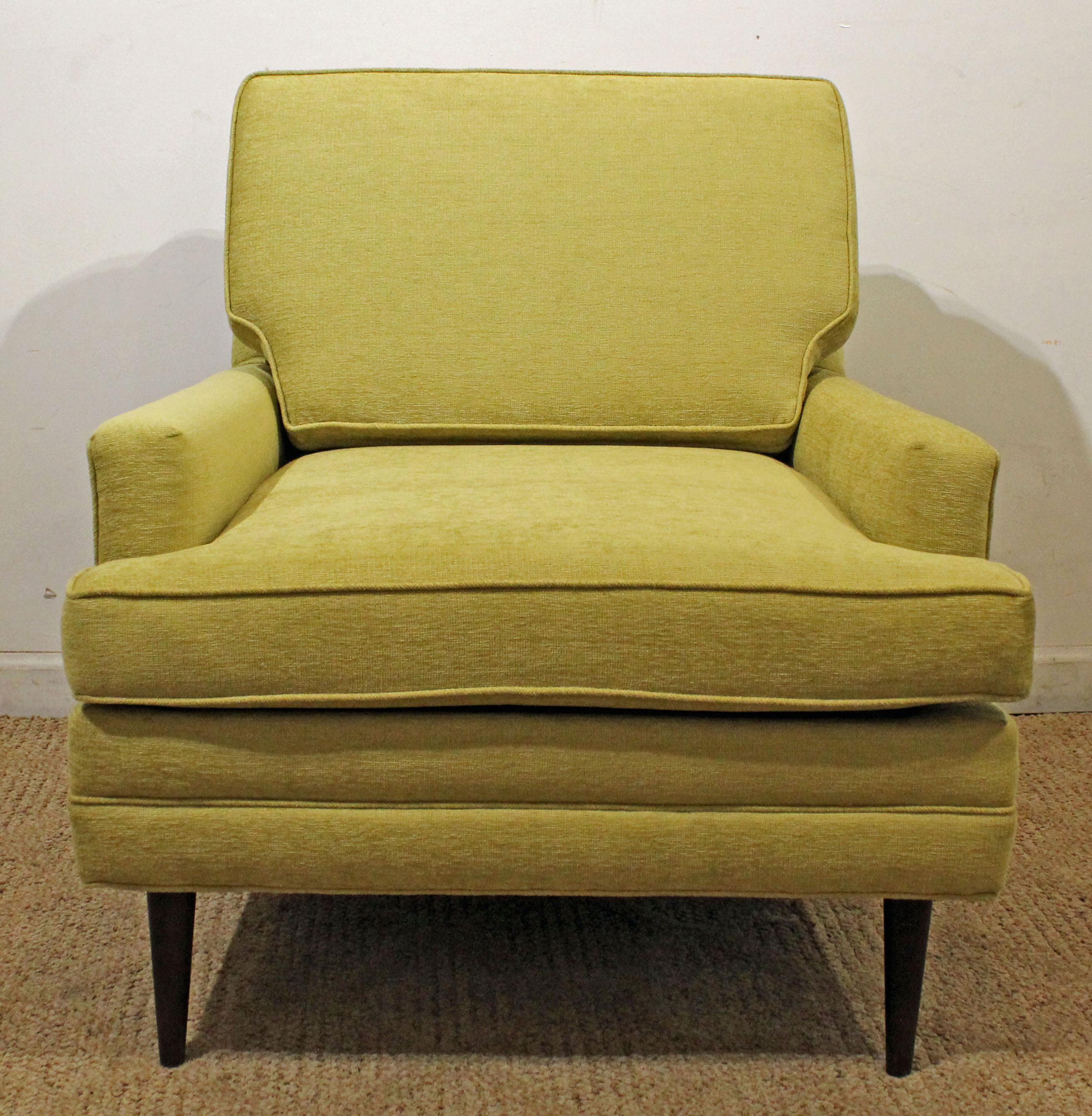 Mid Century Danish Modern Thayer Coggin Style Chartreuse Pencil Leg Club  Chair   Image 10