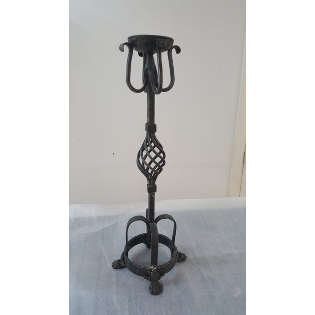 Metal Theodore Alexander Tall Candle Holders - a Pair For Sale - Image 7 of 11