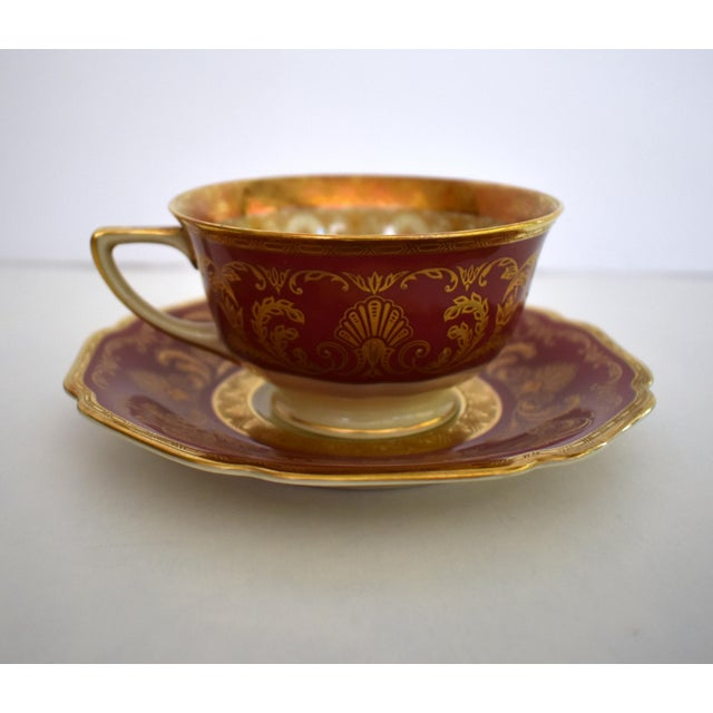 Shabby Chic Heinrich and Co. Selb H & C Bavaria German Porcelain Red and Gold Encrusted Tea Cup and Saucer - Service for 4 For Sale - Image 3 of 12