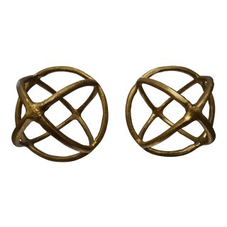 Decorative Gold Spheres- a Pair