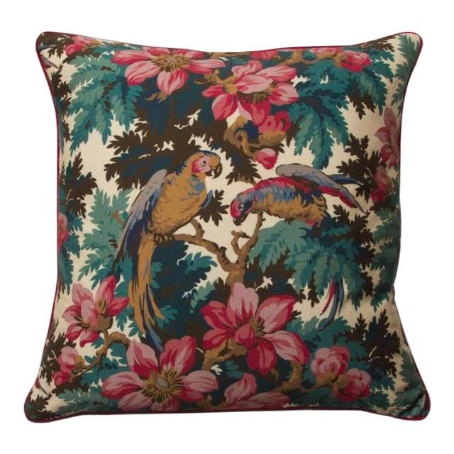 Boho Chic Jungle Parrots Print Pillow For Sale