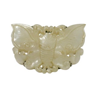 1900s Antique Chinese Carved White Jade Butterfly Pendant Brooch For Sale