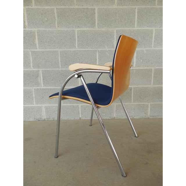 Modern Thonet Chrome & Bent Wood Chairs - Set of 6 For Sale - Image 3 of 9